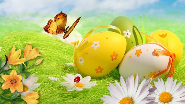 green-and-yellow-for-easter-daisies-easter-eggs-field-firefox-persona-grass-green-lilies-sky-yellow